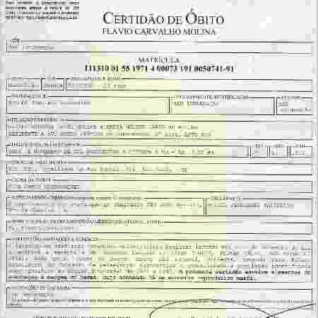 Nova certidão de óbito do estudante Flavio Carvalho Molina, assassinado pela ditadura, em 1971, retificada quase 50 anos após a morte da vítima - Reprodução