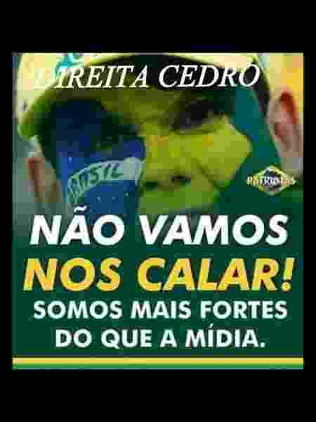 12.mar.2020 - postagem em grupo de apoio ao presidente Jair Bolsonaro nesta quinta-feira (12) reforça convocação para manifestação no domingo (15) apesar do coronavírus - Reprodução/WhatsApp - Reprodução/WhatsApp