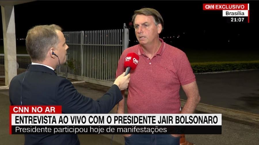 Imagem da entrevista concedida por Bolsonaro à CNN Brasil no dia 15 de março de 2020 - Reprodução/CNN Brasil