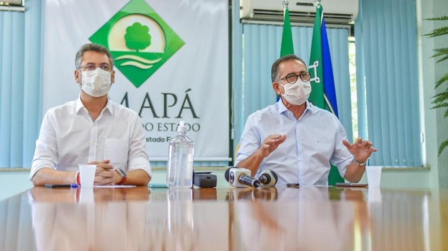Waldez Góes, à direita, anunciou medida ao lado do prefeito de Macapá, Clécio Luís. Crédito -  Philipe Gomez/Governo do Amapá/Divulgação