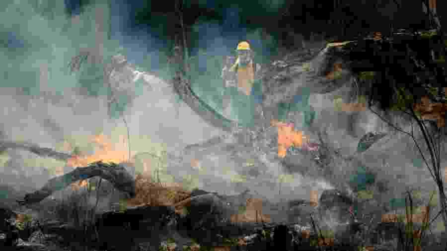 3.set.2019 - Novo Progresso, Pará: integrantes da Prevfogo, brigada do Ibama contra incêndios, combatem fogo na Amazônia - Gustavo Basso/NurPhoto via Getty Images
