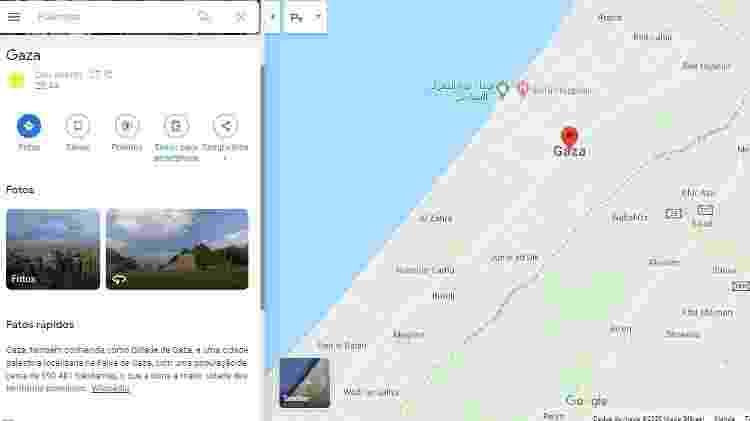 Mapa de Gaza pelo Google Maps - Reprodução/Google Maps - Reprodução/Google Maps