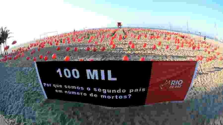 08.ago.2020 - ONG Rio de Paz lota a areia da praia de Copacabana, no Rio, com bexigas vermelhas em homenagem aos quase 100 mil mortos pela covid-19 no Brasil - JORGE HELY/FRAMEPHOTO/FRAMEPHOTO/ESTADÃO CONTEÚDO