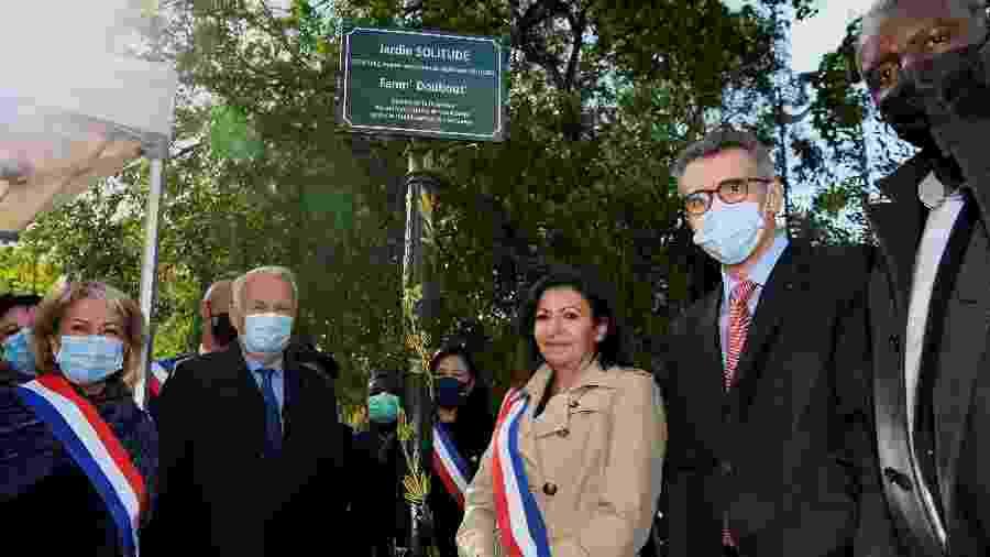 Prefeita de Paris, Anne Hidalgo, na inauguração do parque onde estátua será colocada - Guay Bertrand/AFP