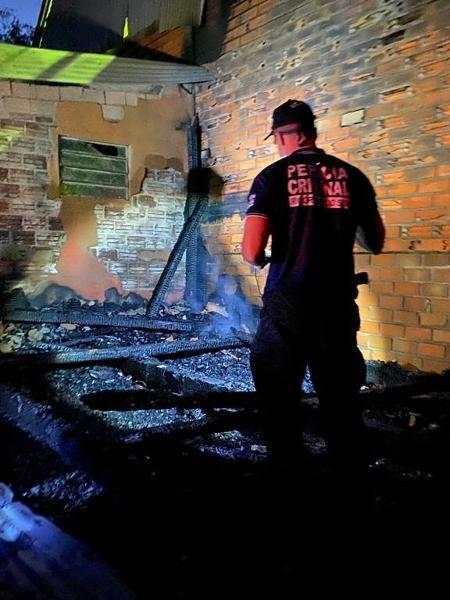 Incêndio ocorreu em um galpão que funcionava como cadeia na Terra Indígena da Serrinha, no Rio Grande do Sul - Divulgação / IGP-RS