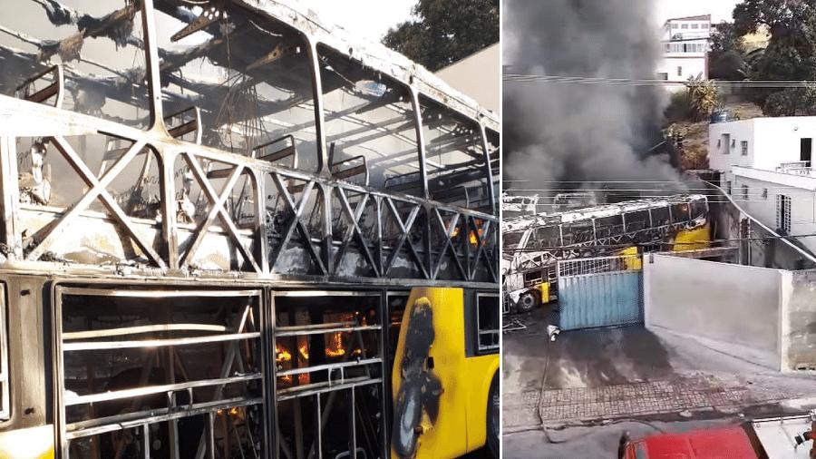 14.jun.2021 - Incêndio atinge garagem de ônibus no bairro de Aparecida, em Belo Horizonte - Divulgação Corpo de Bombeiros Militar de Minas Gerais