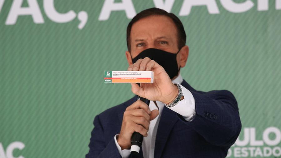 """A ButanVac foi anunciada pelo governador João Doria como """"a primeira vacina 100% brasileira contra a Covid-19"""" - Governo do Estado de São Paulo"""