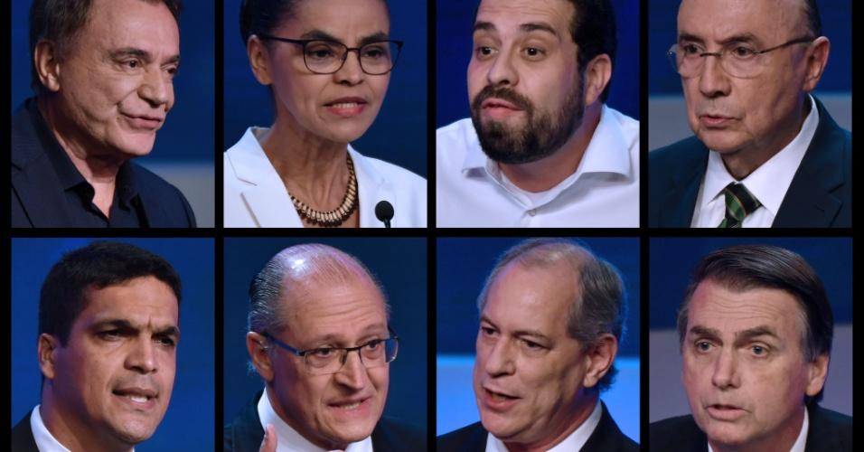9.ago.2018 - Candidatos participantes do primeiro debate com presidenciáveis nas eleições de 2018, realizado pela TV Band