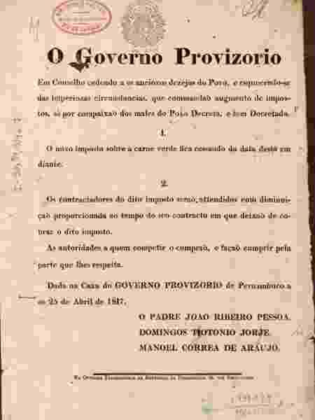 Decreto do governo provisório que extinguia o imposto sobre a carne - Biblioteca Nacional/BBC