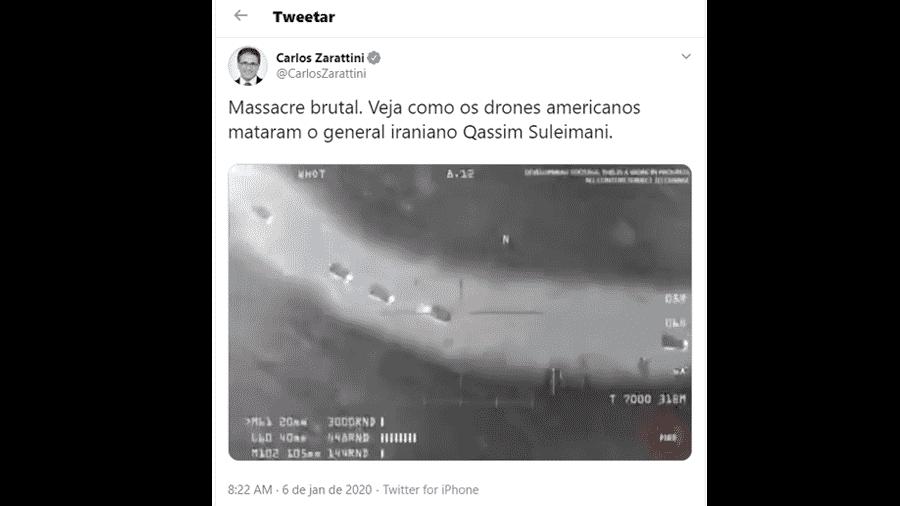 Tuíte do deputado federal Carlos Zarattini (PT-SP) - Reprodução/Twitter