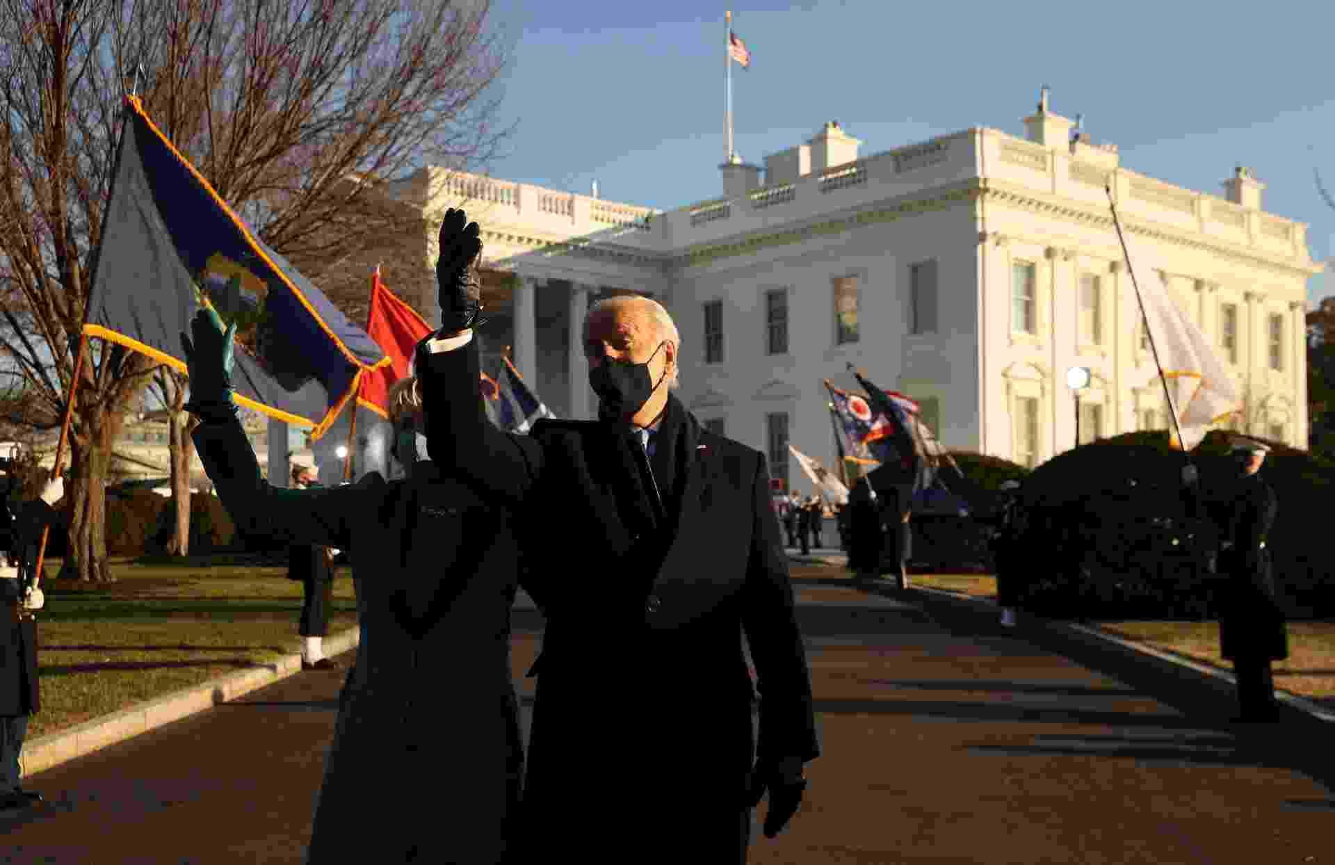 20 jan. 2021 - Presidente Joe Biden chega pela primeira vez à Casa Branca - Chip Somodevilla/Getty Images