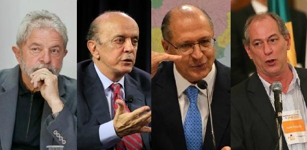 Montagem mostra o ex-presidente Lula (PT), o senador José Serra (PSDB), o governador de SP, Geraldo Alckmin (PSDB), e o ex-governador do Ceará Ciro Gomes (PDT) - Montagem/UOL