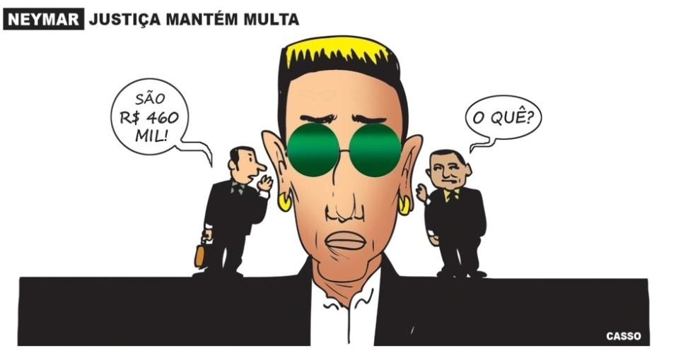 11.fev.2016 - Neymar brinca de telefone sem fio e a prenda vale R$ 460 mil