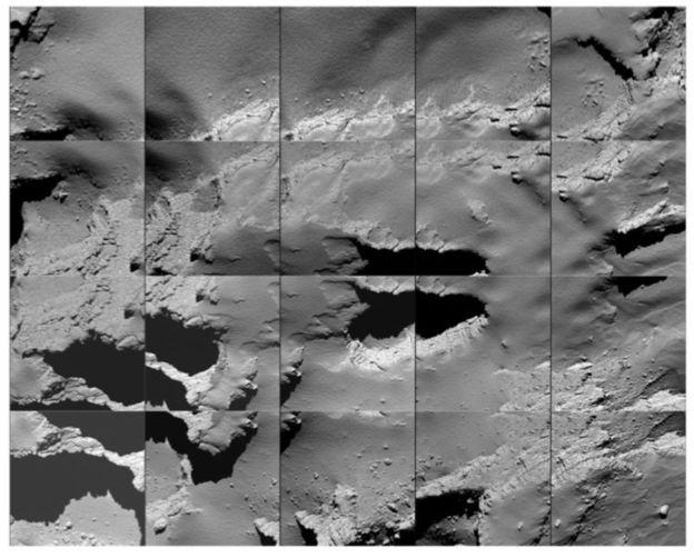 30.set.2016 - Uma colagem das últimas fotos feitas pela sonda mostra como é o cometa 67P de perto