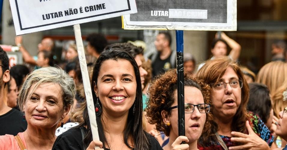 Professores do Colégio Pedro 2º, no Rio, durante ato contra a reforma da Previdência; em 2016, alunos ocuparam unidades do colégio em protesto às medidas do governo federal para a educação