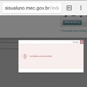 Erro durante processo de inscrição no Sisu de meio de ano - Reprodução