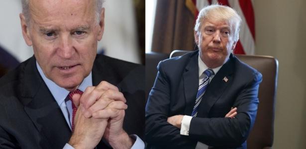 À esq., o ex-presidente dos EUA, Joe Biden; ao lado, Donald Trump - Arte UOL