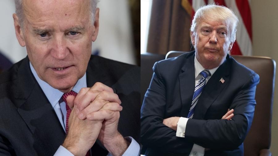 À esq., Joe Biden, ex-presidente dos EUA; à dir., Donald Trump, presidente dos EUA - Arte UOL