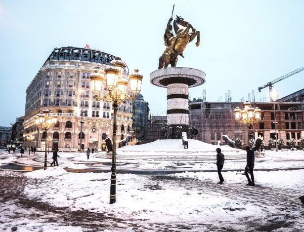 Estátua que representa Alexandre, o Grande, em Skopje