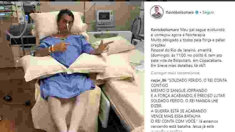 Filho de Bolsonaro posta primeira foto dele sentado em hospital - Reprodução/Instagram - Reprodução/Instagram