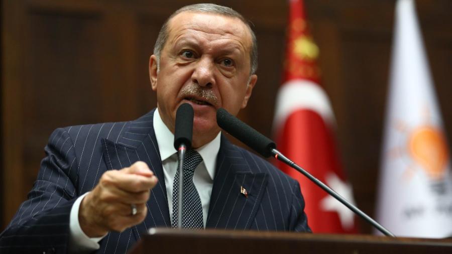 2.out.2018 - Presidente Recep Tayyip Erdogan discursa durante a Grande Assembleia Nacional da Turquia - Adem Altan/AFP