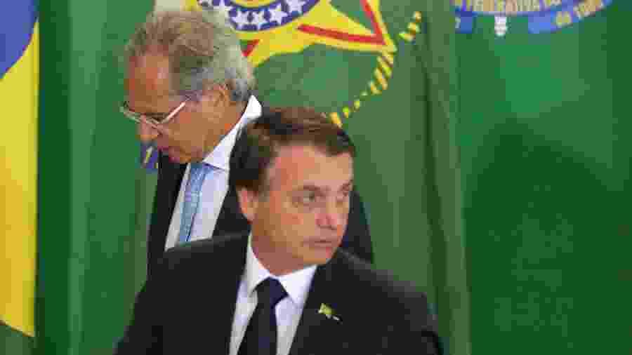 07.jan.2019 - O presidente Jair Bolsonaro e o ministro da Economia, Paulo Guedes - Fátima Meira/Futura Press/Estadão Conteúdo