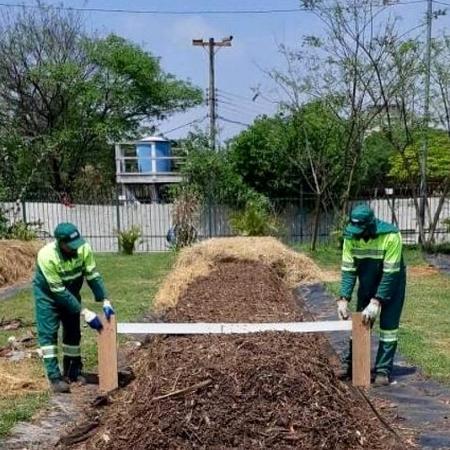 Pátio de compostagem da Sé, no centro de São Paulo, em foto de 2019 - Divulgação