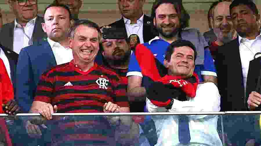 Presidente Jair Bolsonaro e o ministro Sergio Moro irão à final da Copa América - Alex Farias/PhotoPress/Folhapress