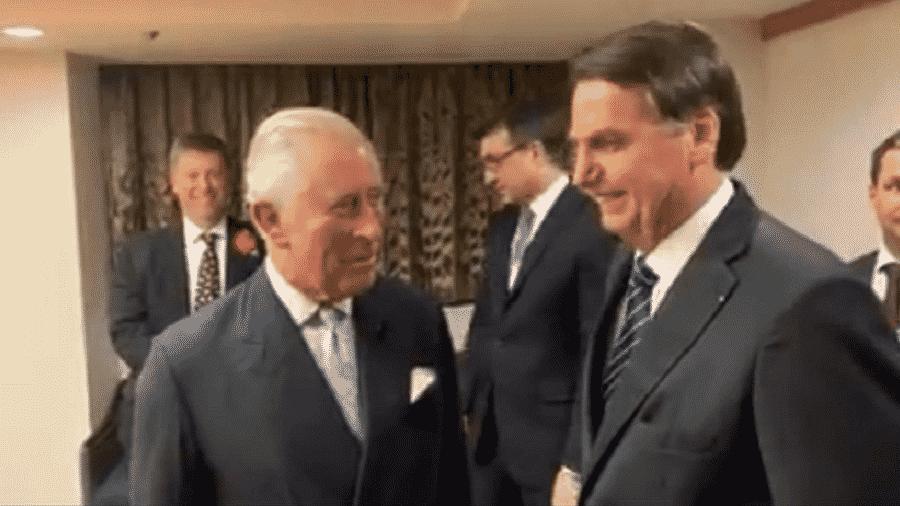 Bolsonaro com príncipe Charles - Reprodução/Twitter/Jair M. Bolsonaro