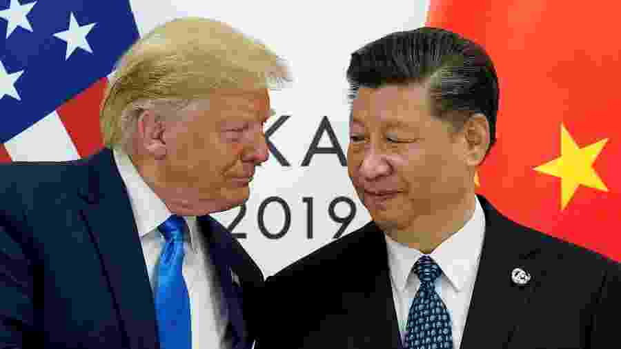 13.dez.2019 - Encontro dos presidentes dos EUA, Donald Trump, e da China, Xi Jinping - Kevin Lamarque