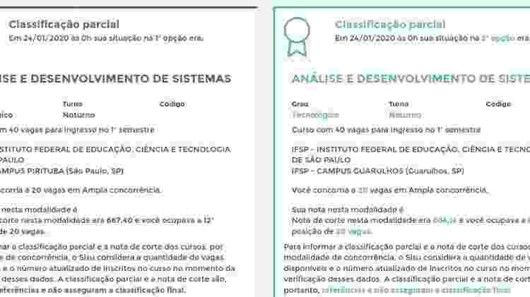 Boletim mostra candidato inscrito nas duas opções de curso no Sisu - Reprodução - Reprodução