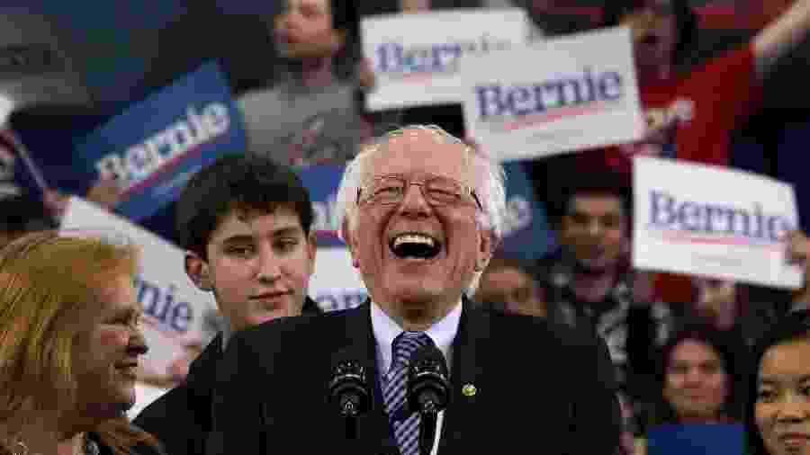 11.fev.2020 - Bernie Sanders venceu com vantagem estreita a primária democrata de New Hampshire e pesquisa aponta vantagem dele em Nevada - Timothy A.Clary/AFP