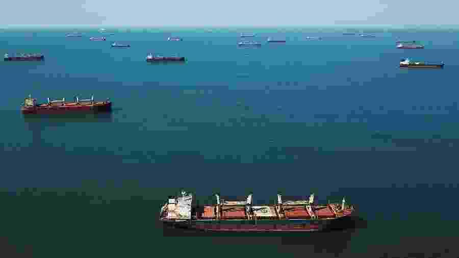 Navios formam fila à espera de carregamento no porto de Santos (SP) - Amanda Perobelli