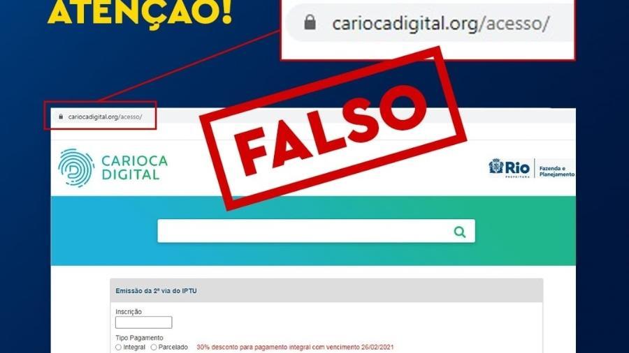 Página fraudulenta tenta se passar por site oficial da Prefeitura do Rio para aplicar golpes na população - Prefeitura do Rio