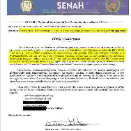 Reprodução da carta enviada pela Senah - Reprodução - Reprodução