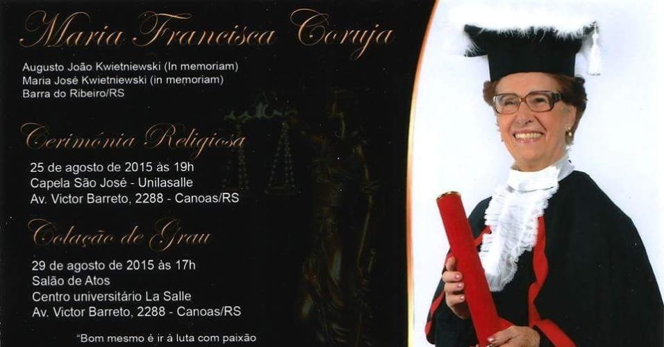 Maria Francisca Coruja, aposentada de 86 anos se forma em direito