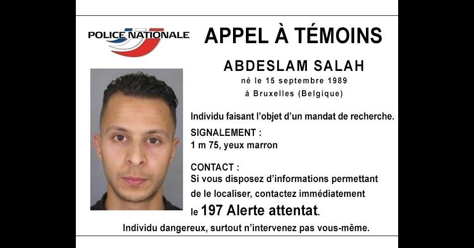 15.nov.2015- Polícia francesa divulga foto de Salah Abdeslam, um dos supostos terroristas envolvidos nos ataques de Paris, que deixaram pelo menos 129 mortos e 350 feridos. O francês Abdeslam, que vivia na Bélgica, está foragido