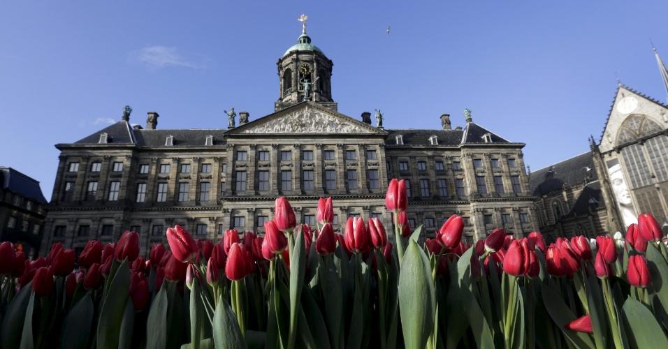 16.jan.2016 - O evento foi realizado em frente ao Palácio Real, em Amsterdã, na Holanda. O local ficou enfeitado por milhares de tulipas