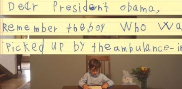 Carta de menino americano divulgada em vídeo pelo presidente Barack Obama