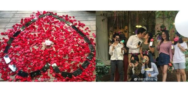Chinês Chen Ming gastou quase US$ 25 mil nos 25 iPhones X do pedido de casamento - Reprodução/Weibo