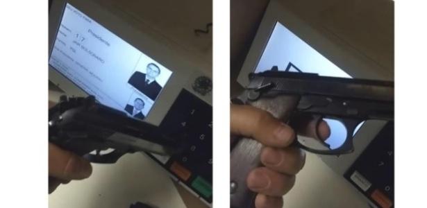 Imagem anexada pelo PT mostra eleitor com arma junto à urna com foto de Bolsonaro