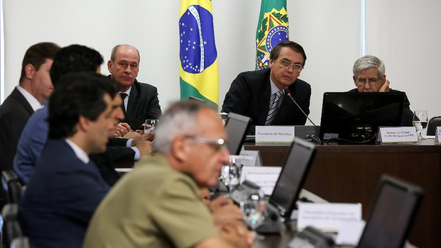 22.fev.2018 - Bolsonaro e general Augusto Heleno durante reunião sobre a crise na Venezuela - Marcos Corrêa/PR