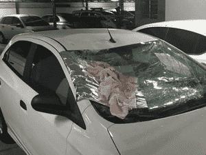 Criança caiu em cima de carro que entrava na garagem do prédio - Reprodução/RecordTV - Reprodução/RecordTV