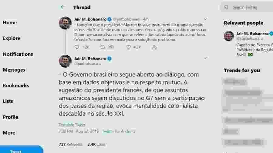Jair Bolsonaro responde a Emmanuel Macron no Twitter - Reprodução