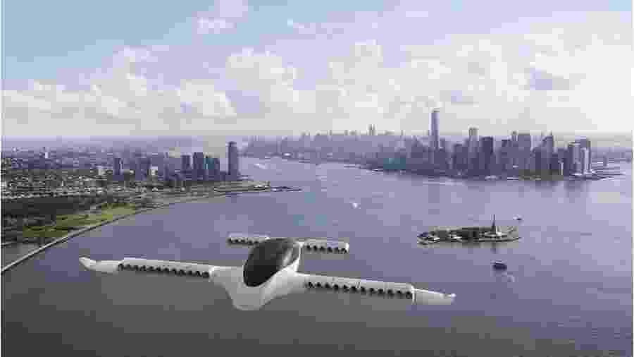 Ilustração de um avião Lilium voando perto de Nova York - Lillium
