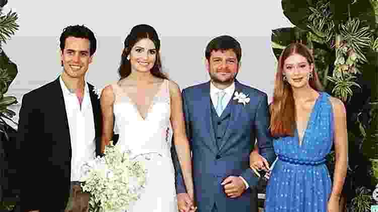O empresário Xandinho Negrão, o casal Maysa Marques e Eduardo Mussi e atriz Marina Ruy Barbosa em cerimônia realizada em agosto - Reprodução/Instagram