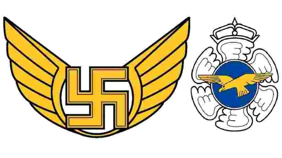 O antigo emblema da Força Aérea Finlandesa (à esquerda) tinha uma suástica - MINISTÉRIO DA DEFESA DA FINLÂNDIA
