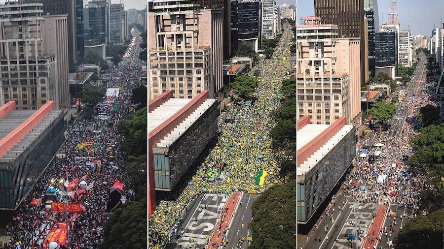 Ato antibolsonarista da esquerda em 19 de junho; manifestação golpista de Bolsonaro em 7 de setembro; ato contra Bolsonaro, organizado pelo MBL e Vem Pra Rua, no dia 12 de setembro - Bruno Santos/ Folhapress