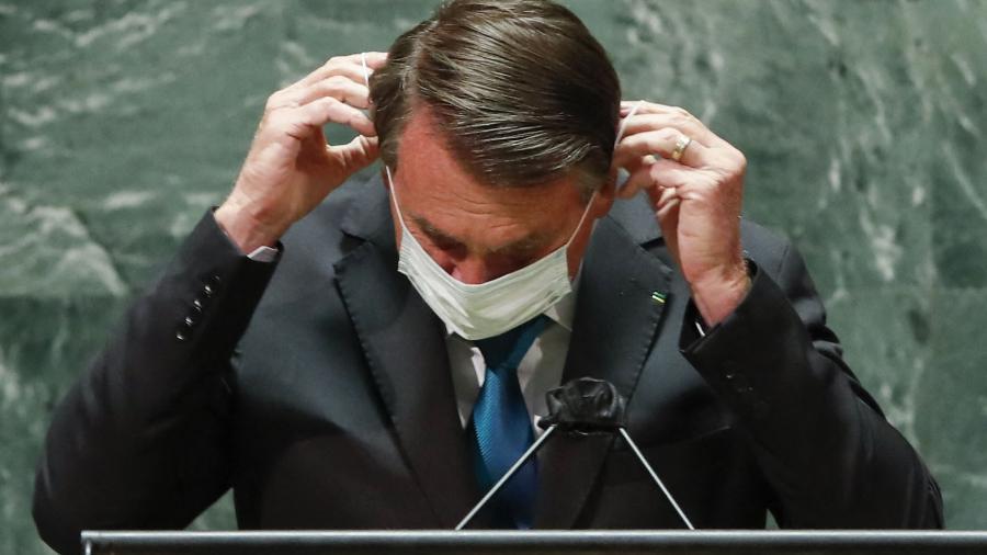 21.set.2021 - O presidente Jair Bolsonaro durante o discurso de abertura da 76ª Assembleia-Geral da ONU - AFP