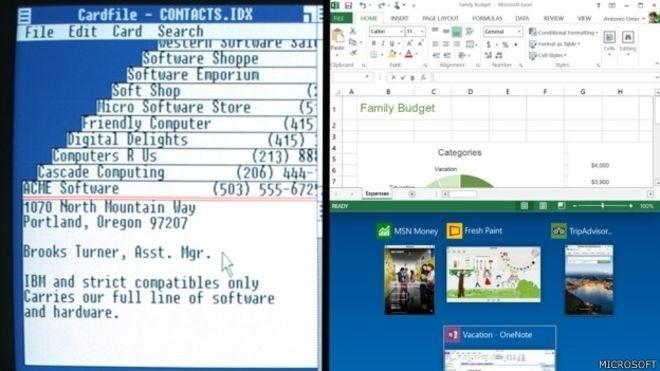 A Microsoft foi fundada em 1975 com uma visão de futuro em que haveria um equipamento informático em cada escritório e em cada casa. Dez anos depois chegou ao mercado a primeira versão do Windows, o Windows 1 (imagem à esq.). O Windows 10 (à dir.) foi lançado em 29 de julho de 2015